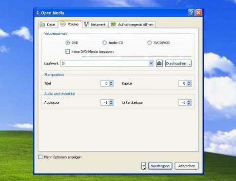 VLC Media Player: Medium öffnen