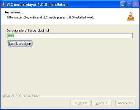 VLC Media Player: Kopiervorgang