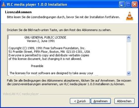 VLC Media Player: Lizenz