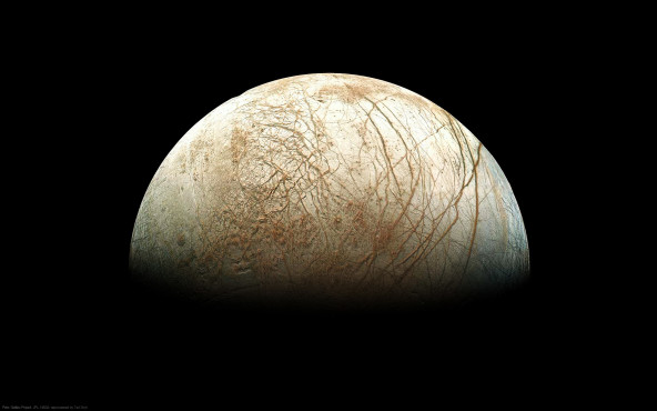 Der Jupiter-Mond Europa - von Galileo Project, JPL, NASA; reprocessed by Ted Stryk ©Galileo Project, JPL, NASA; reprocessed by Ted Stryk