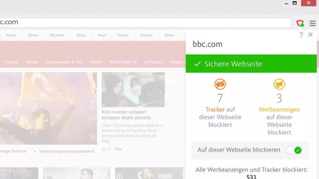 Abgeschirmter Chrome-Klon: Avast Secure Browser ©COMPUTER BILD