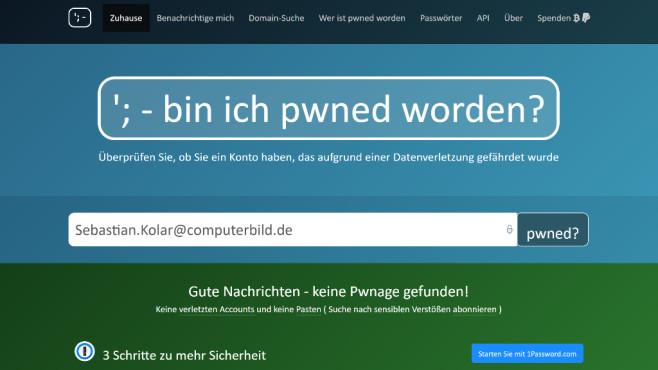 Gehackte Webkonten entdecken: Have I been pwned ©COMPUTER BILD