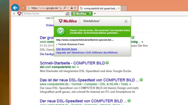Webseiten-Sicherheit prüfen: McAfee SiteAdvisor ©COMPUTER BILD