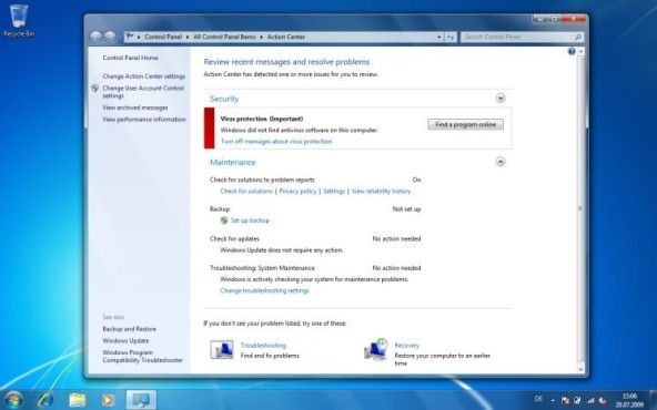 Windows 7: Action Center