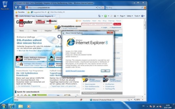 Windows 7: Beta-Version des IE 8 (8.0.7000.0)
