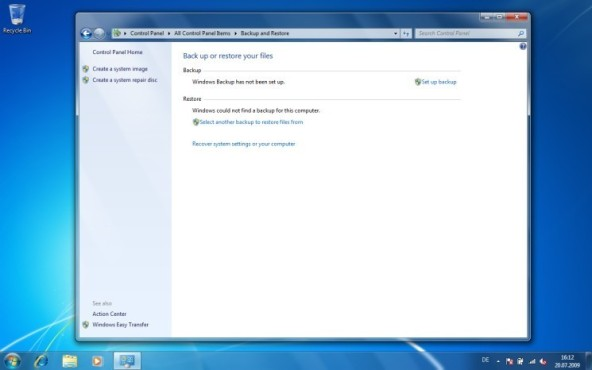 Windows 7: Speicherort des Back-ups