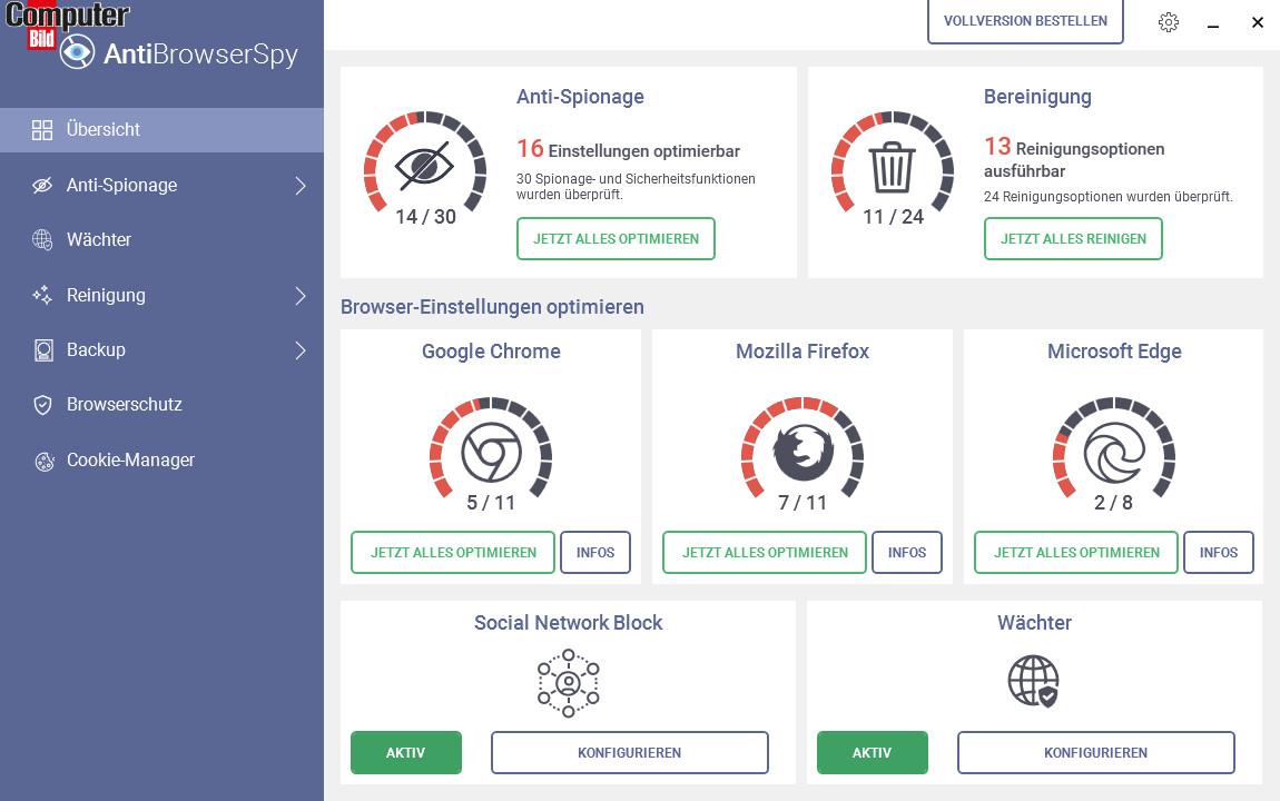 Screenshot 1 - AntiBrowserSpy 2021 (COMPUTER BILD-Edition)