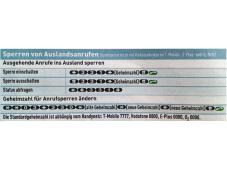 Tabelle: Sperren von Auslandsanrufen
