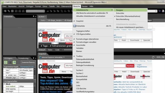 Webseiten erstellen: Microsoft Expression Web – Kostenlose Vollversion ©COMPUTER BILD