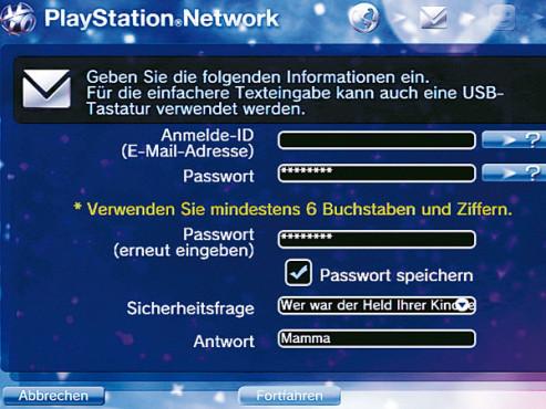 Anmeldung Playstation Network