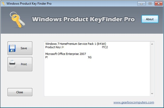 Screenshot 1 - Windows Product KeyFinder Pro