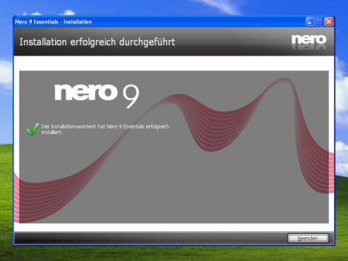 Nero 9 Free: Installation abgeschlossen