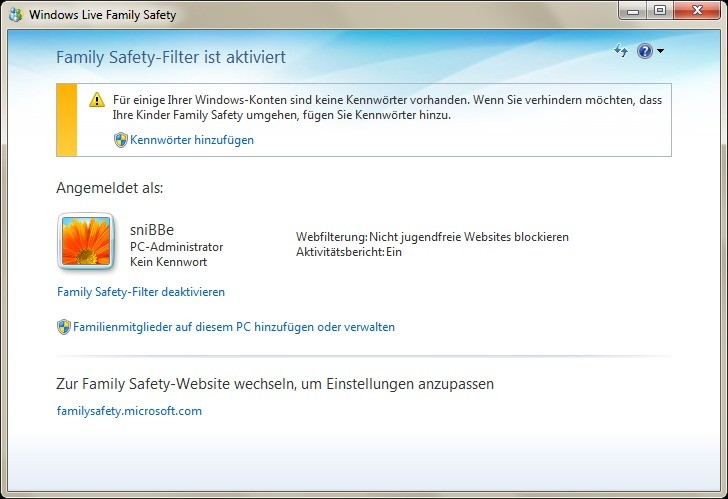 Screenshot 1 - Windows Live Family Safety 2011