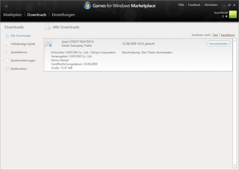 Screenshot 1 - Games for Windows Marketplace Client