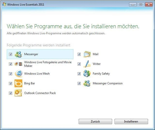 Screenshot 1 - Windows Live Essentials 2011