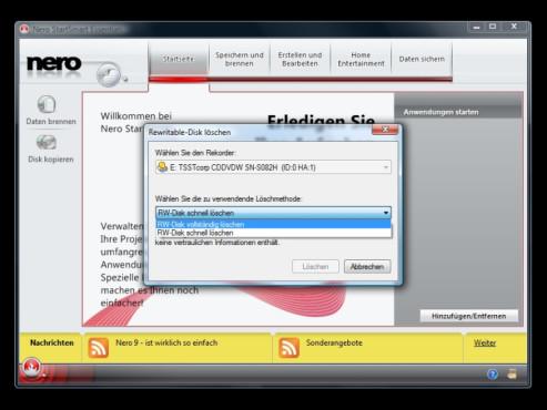 Inhalt wiederbeschreibbarer CDs/DVDs löschen: Nero 9 Free Version