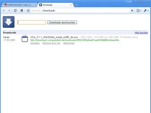 Google Chrome 3 Download-Manager