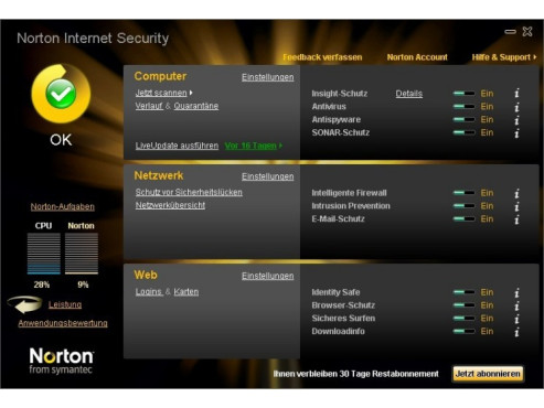 Testversionen Internetsicherheitspakete: Norton Internet Security 2010