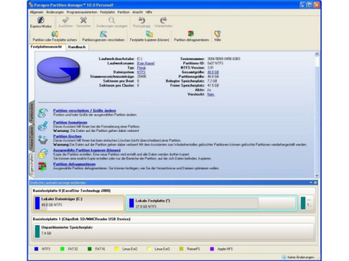 Testversionen Paragon Partition Manager Personal Edition