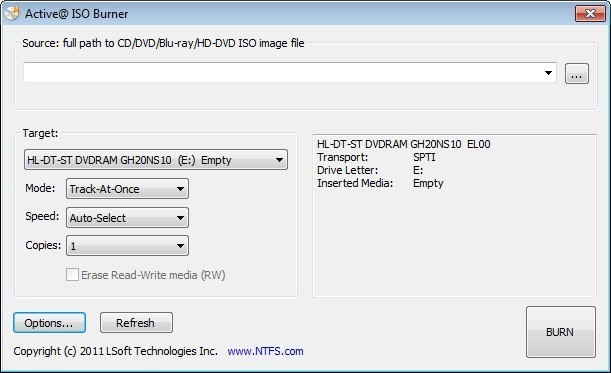 Screenshot 1 - Active ISO Burner