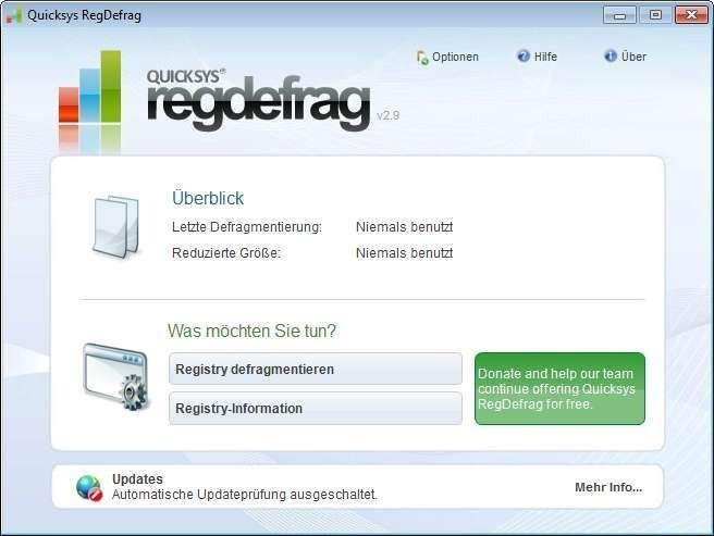 Screenshot 1 - Quicksys RegDefrag Portable