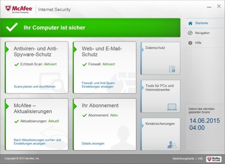 Screenshot 1 - McAfee Internet Security 2016