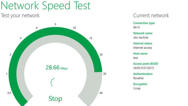 Microsoft Network Speed Test (Windows-8-App): Internet-Geschwindigkeit messen ©COMPUTER BILD