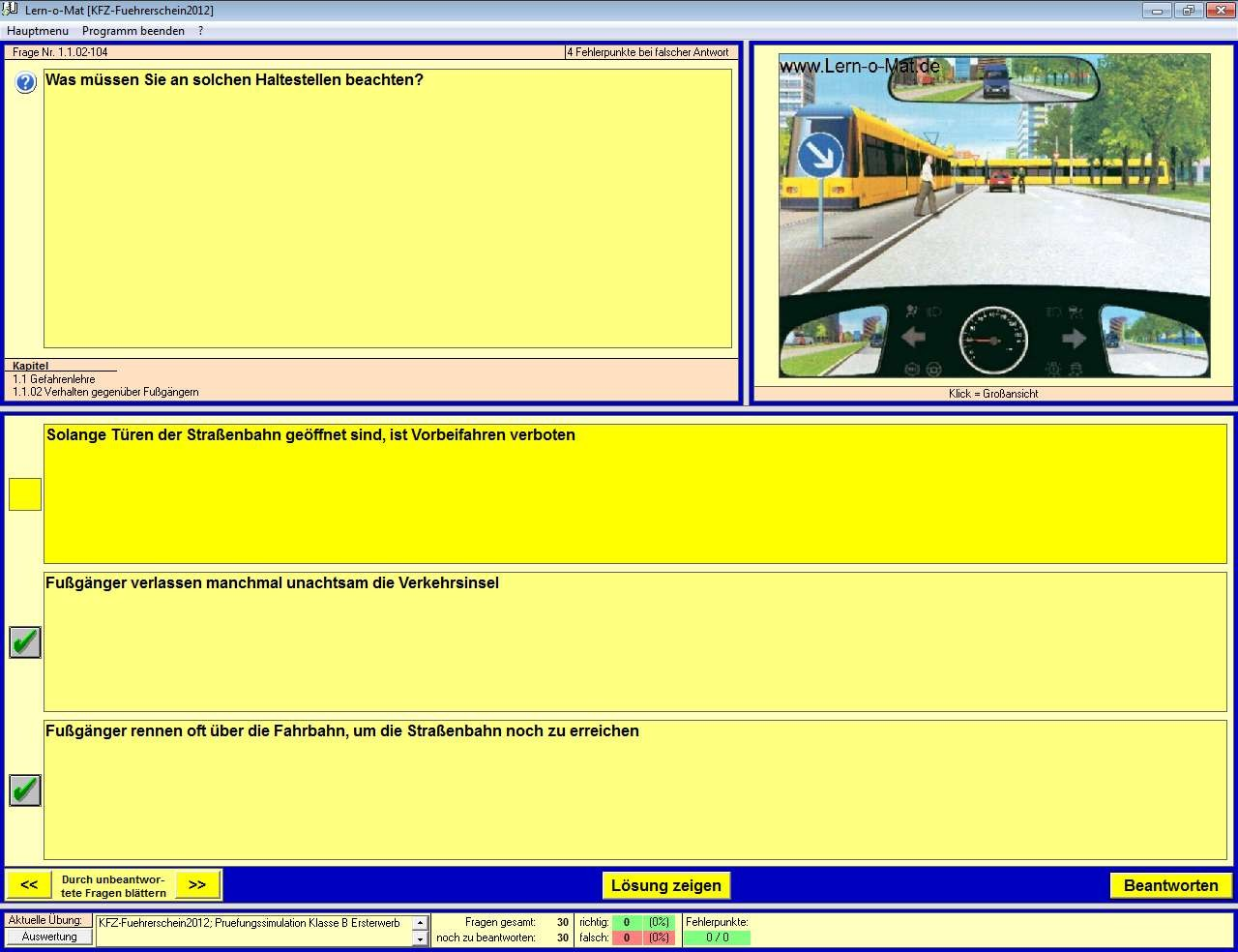 Screenshot 1 - Lern-O-Mat KFZ-Führerschein