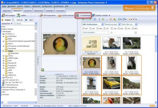 Ashampoo Photo Commander: Bilder in der Dateiablage zwischenspeichern