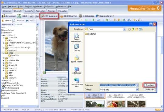 Ashampoo Photo Commander: Grafiken als PDF-Datei speichern