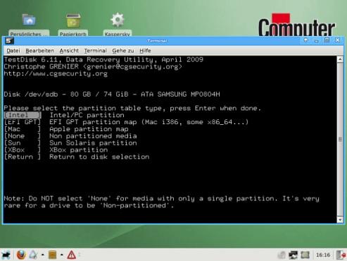 COMPUTER BILD-Notfall-CD: Auswahl