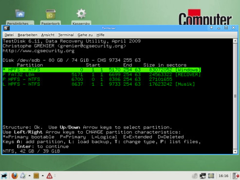 COMPUTER BILD-Notfall-CD: Ordner und Dateien gefundener Partition anzeigen lassen