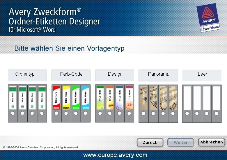 Avery Zweckform Ordner Designer Software 7110070