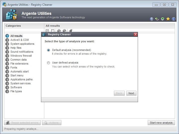 Screenshot 1 - Argente Registry Cleaner