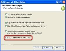 CCleaner: Installationsoptionen festlegen