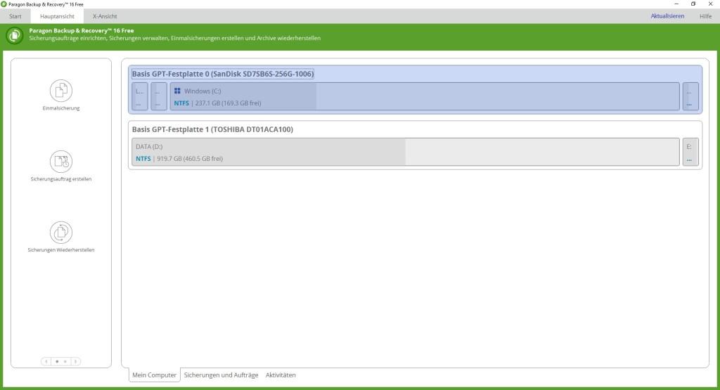 Screenshot 1 - Paragon Backup & Recovery 16 Free Edition