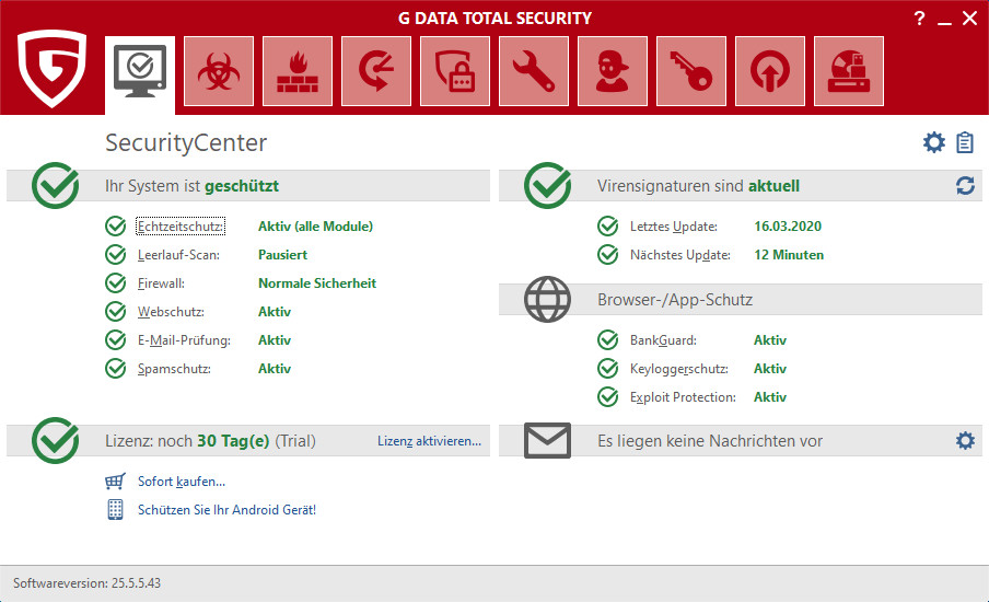 Screenshot 1 - G Data Total Security 2020