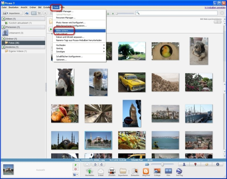 how to delete picasa backup photos