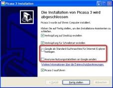 """Picasa: Auf das Einrichten von """"Google"""" als Standard-Suchmaschine können Sie ebenso verzichten wie auf das Versenden anonymer Nutzungsstatistiken."""