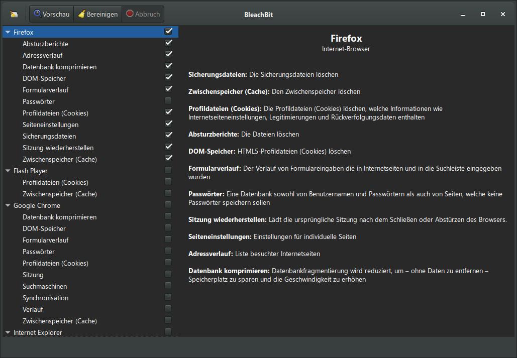 Screenshot 1 - BleachBit