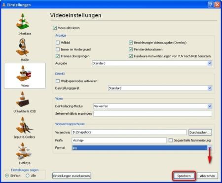 VLC Media Player: Bild-Format ändern