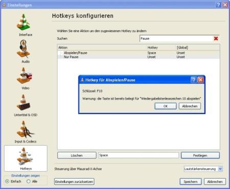 """VLC Media Player: Einen bestehenden """"Hotkey"""" löschen"""