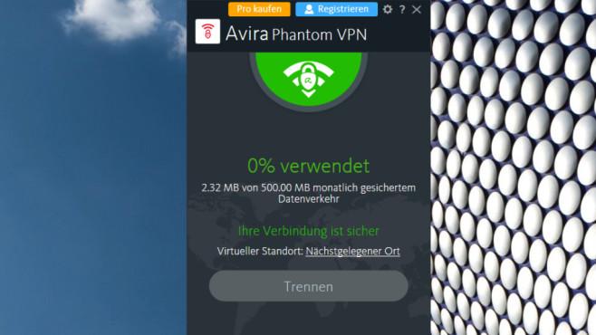 Avira Phantom VPN: Geschützter Datenkanal aus Deutschland ©COMPUTER BILD