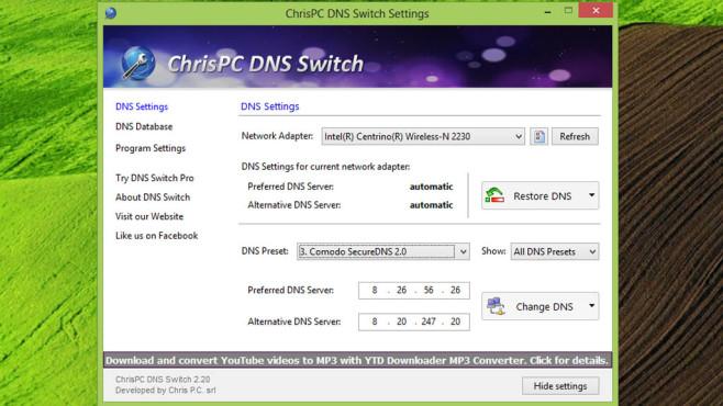 ChrisPC DNS Switch: Frei von Zensur surfen ©COMPUTER BILD