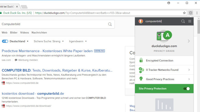 DuckDuckGo für Chrome: Diskrete Google-Alternative © COMPUTER BILD