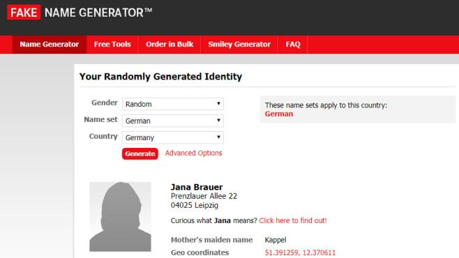 Fake Name Generator ©COMPUTER BILD