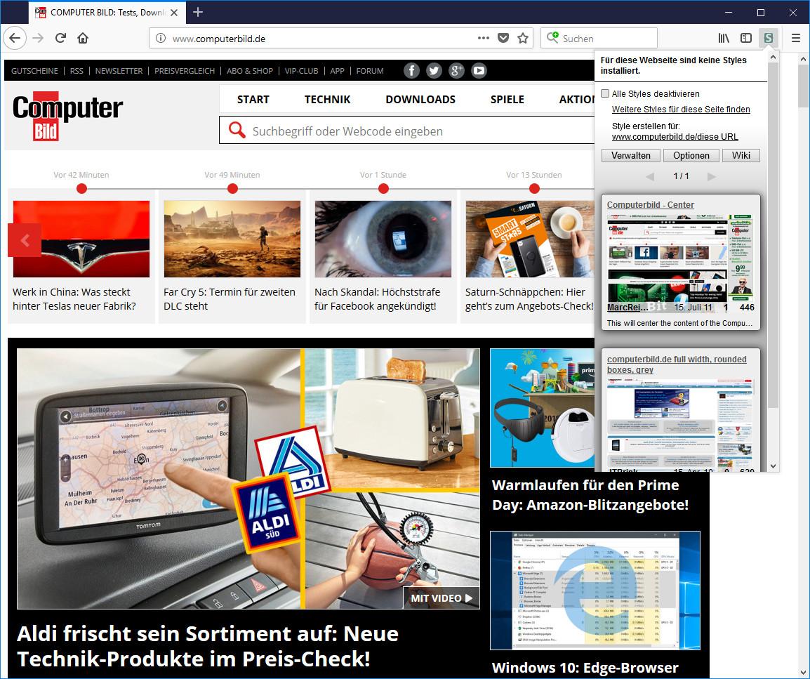 Screenshot 1 - Stylus für Firefox