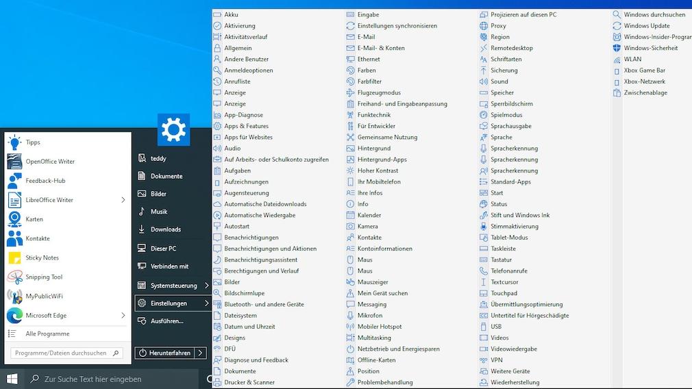 GodMode für Windows: So konfigurieren Sie das Betriebssystem optimal Der GodMode zeigt Einträge der Systemsteuerung, StartIsBack überträgt das Prinzip auf die Konfigurations-App.
