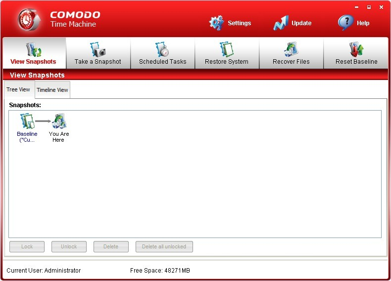Screenshot 1 - Comodo Time Machine