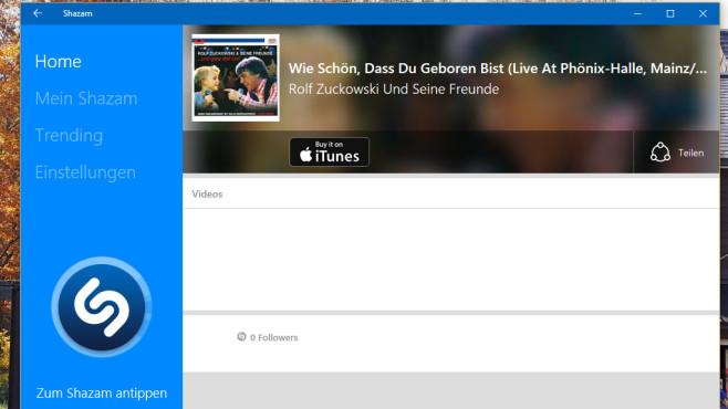 Shazam (App für Windows 10 & 8): Musikerkennung ©COMPUTER BILD